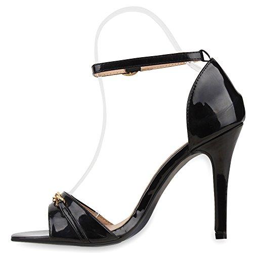 Elegante Damen Sandaletten | High Heels Sation-Optik | Glitzer Metallic Brautschuhe | Party Schuhe Animal Print | Plateauschuhe Schleifen Muster | Abschlussball Schwarz Kette