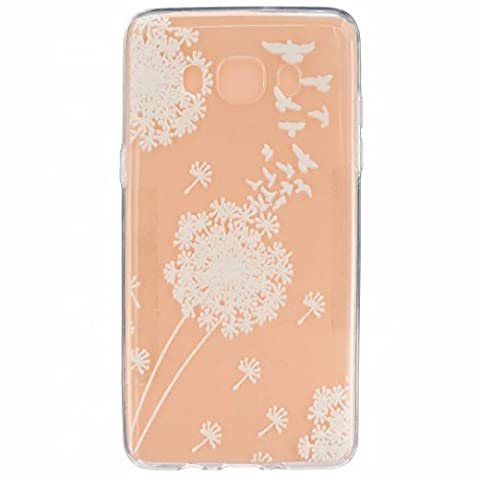 MUTOUREN Samsung Galaxy J5 (2016) SM-J510F case cover Mobile phone protective cover TPU silicone transparent clear thin silicone anti scratch bag case with simple patterns- White Dandelion