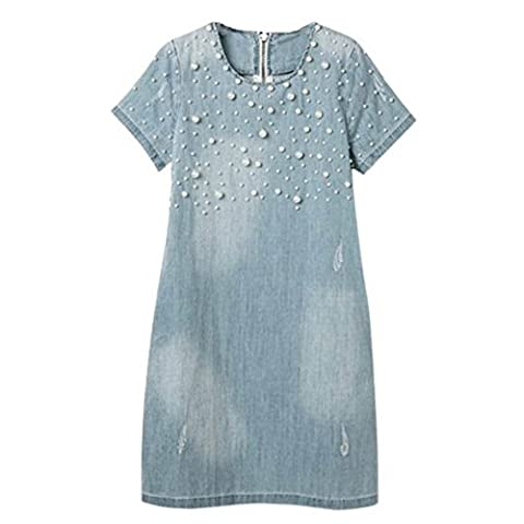 EXIU Women Jeans Casual Short Sleeve A-Line Elegant Beaded Vintage Dress 7 Size