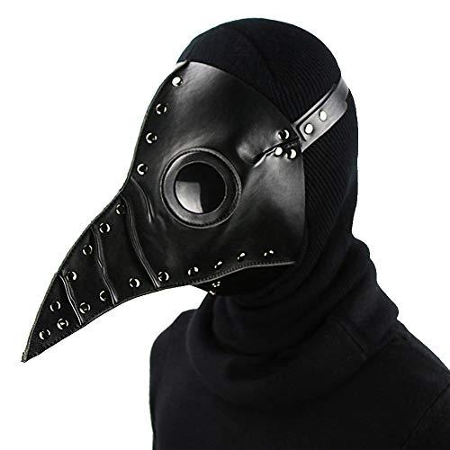 Halloween PU-Maske - Steampunk Domineering Pest Arzt Maske PU Leder Gothic Maskerade Maske Cosplay Requisiten-31 * 25 * 24 cm