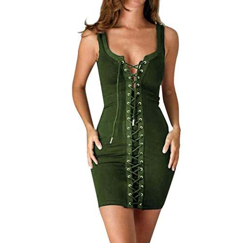 Whycat Bandage Midi Dress Sale Damen Schnüren Korsett Bodycon V-Ausschnitt Damen Strappy Club Party(Armeegrün,XXXL