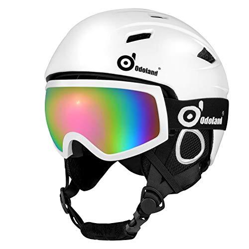 Odoland Skihelm und Skibrille Set, Snowboardhelm mit Snowboardbrille für Erwachsene und Kinder, Schneebrille UV 400 Schutz Windwiderstand Snowboard Brille zum Skifahren und Bergsteigen Weiß