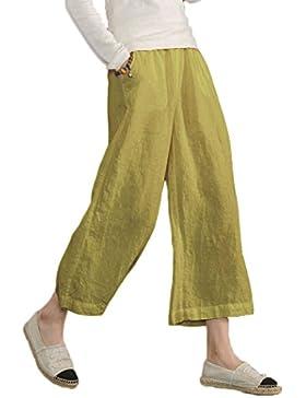 Ecupper - Pantalones de lino, elásticos, rectos, sueltos, informales, para mujer, tallas grandes