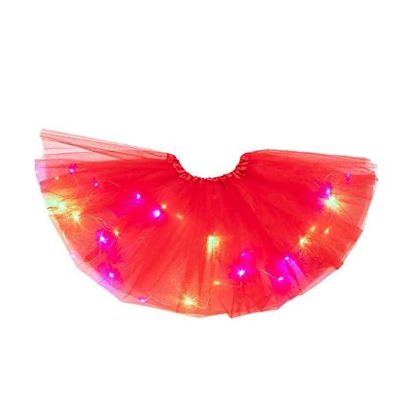 YWLINK Tutú De NiñA De 2-8 AñOs Falda De Malla De Luz LED Falda De Baile Vestido De Princesa Fiesta De Carnaval Disfraz… 3