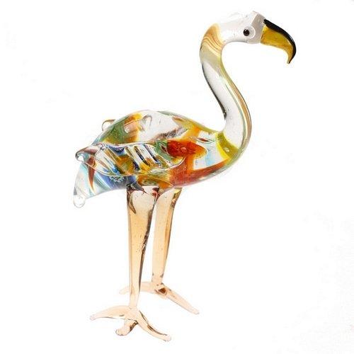 Multicolor Flamingo adorno de regalo de cristal pantalla Curio