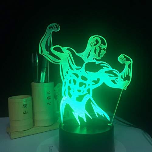 Luz de la noche 3D 7 colores cambiantes cuerpo hombre lámpara de mesa cambio colorido lámpara de mesa para la decoración del gimnasio regalo luz USB LED