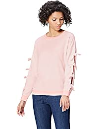 FIND Women's Sweatshirt with Tie Detail Arms Long Sleeves