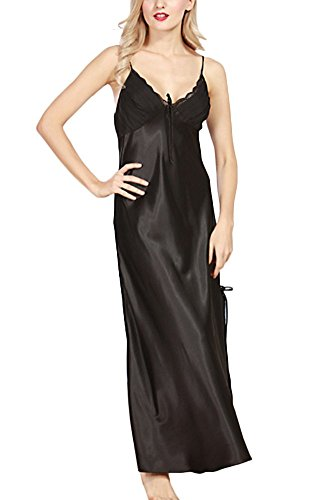 - 416z 2BA 2B5W3L - KE1AIP Elegant Ladies Satin Lace Nightdress Sexy V-neck Lingerie Soft Nightwear