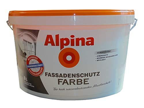 Alpina 8 L. Fassadenschutz Farbe, Fassadenfarbe, Weiß Matt, Silikonverstärkt