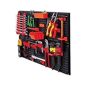 Nerf Gun Rack - pegboard painted chrome with diamond plate duck tape  boarder. Used small