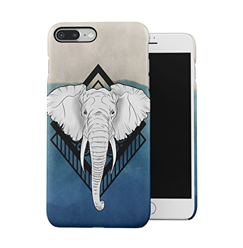 Weiß Elefant Head Blue Blau Waterpaint Art Dünne Handy Schutzhülle Hardcase Aus Hartplastik Hülle für iPhone 7 PLUS/iPhone 8 PLUS Handyhülle Case Cover (Screen Print Blue)
