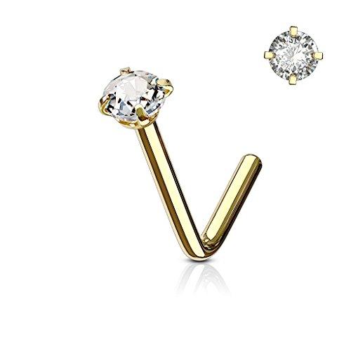 BodyJewelryonline Erwachsenen Nase Ring Stud L förmige chirurgische Stahlschraube Piercing CZ Gem 1pc 20G 18G 6MM (Gold - klare CZ, 18) (L-förmige Nase Ringe 3mm)