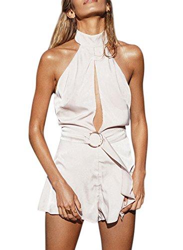 ACHICGIRL Women's Halter Backless Sleeveless Solid Romper white