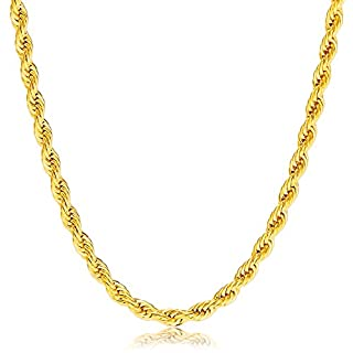 Herren Gold Halskette - Edelstahl 18K vergoldet Kette 60cm von Vcmart