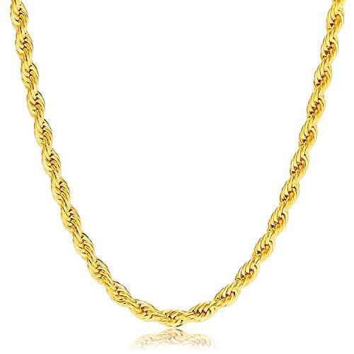 VCMART 18K oro plateó el collar del acoplamiento de las mujeres de los hombres del collar de la cadena del acero inoxidable, 18-28 pulgadas