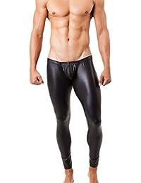 West See Herren Lederhose Leggings Stretch Pants Unterhose Tight WetLook Schwarz