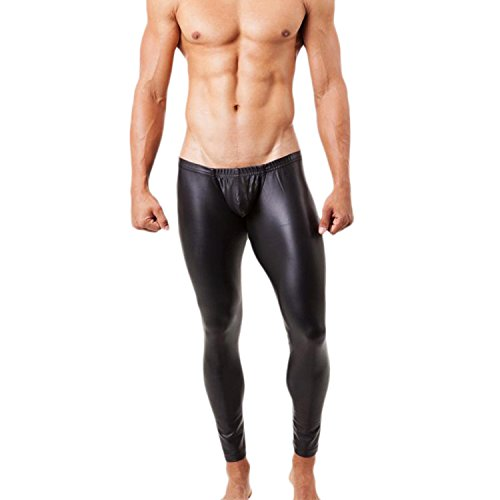 West See Herren Lederhose Leggings Stretch Pants Unterhose Tight WetLook Schwarz (DE M(Etikette L), Schwarz)