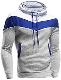 riou Sudadera con Capucha para Hombre Otoño Casual Color Sólido Camiseta de Manga Larga Chaqueta Hoodie Abrigo