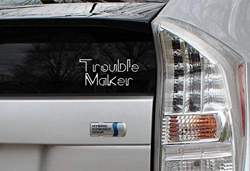 Yilooom Trouble Maker Rub-On Vinyl Die Cut Decal Bumper Sticker Car Laptop Sass Resist Vinyl Sticker for Car for Laptop 8 inches - 2 Packs