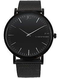 "'Jean Constantine–""Raven cuarzo reloj de pulsera con cristal de zafiro Unisex–Swiss Ronda, Milanese de reloj de pulsera, moderna Atemporal Elegante clásico, reloj, Negro"