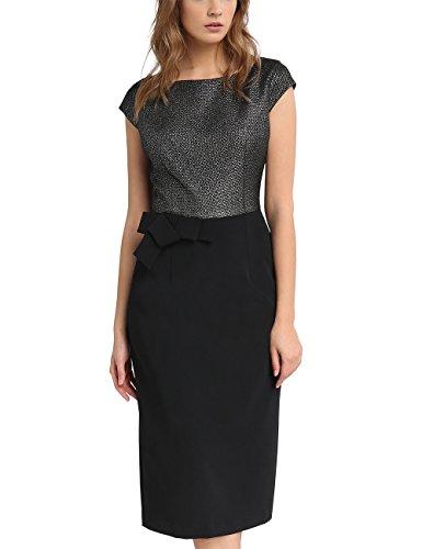 APART Fashion Damen 60702 Kleid, Mehrfarbig (Schwarz-Silber), 36