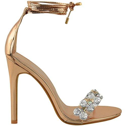 Stile Con Falso Di Oro Pizzo Diamante Rosa Scarpe Decorativo I Donna Placcato Tacchi Sandali Rx50wBx
