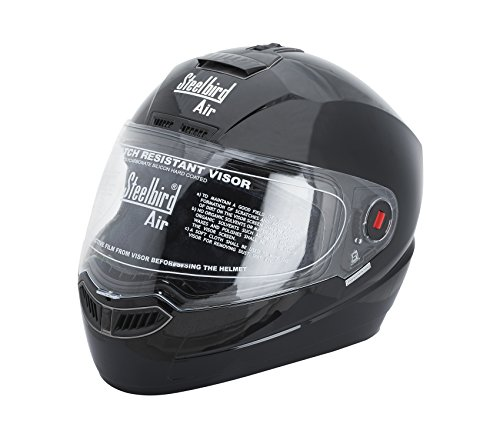 Steelbird Sba-1 Black Glossy Black Full Face Helmet(Glossy Black)
