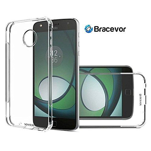 Bracevor Flexible Shockproof Moto Z Play Tpu Back Case Cover Cushioned Edges,Transparent