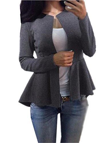 AILIENT Vestito di Lana Donna Semplice Manica Lunga Elegante Cappotto Slim Sweatshirt Classico Outwear Puro Colore Grey
