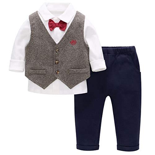 Famuka Baby Anzüge Baby Junge Sakkos Taufe Hochzeit Babybekleidung Set (Braun, 100cm)