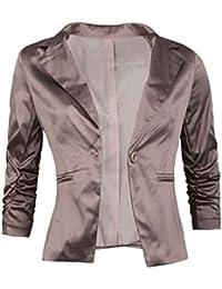 GIOVANI & RICCHI Eleganter Satin Damenblazer Blazer Baumwolle Jäckchen Business Freizeit Party Jacke in mehreren Farben 36 38 40 42