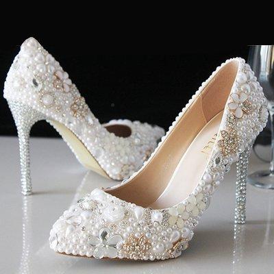 VIVIOO High Heels Weiße Perle Beschuht Kristallhochzeitskleider Brautschuhe Diamantfersenhohe Absätze Große Größenstadiums-Prinzessinschuhe,3Cm Ferse,6