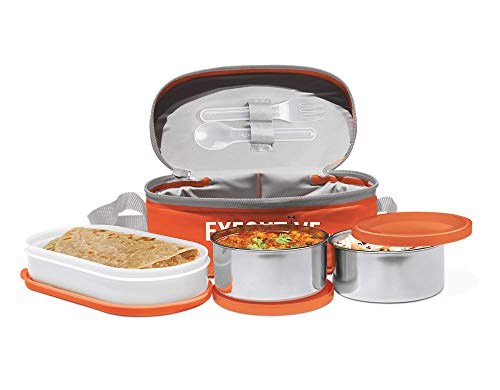 Milton Executive Lunch Insulated Tiffin With 3 Leakproof Containers, Orange,Plastic /Stainless Steel,21 In