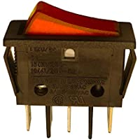 Interruptor basculante SPST de 11 x 30 mm, luz roja, 250 VAC, 16 A