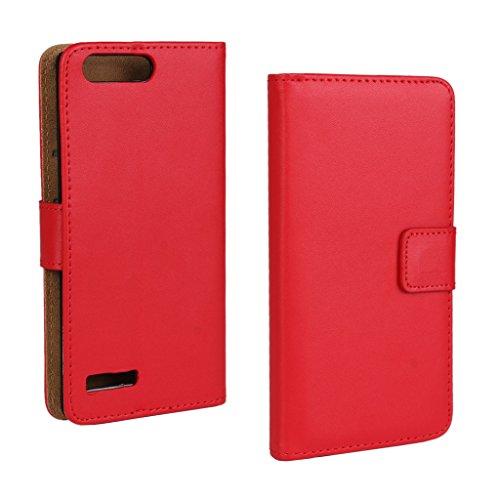 UKDANDANWEI Huawei Ascend P7 mini Hülle - Book-Style Wallet Case Flip Cover Etui Tasche Case mit Standfunktion Für Huawei Ascend P7 mini Rosso