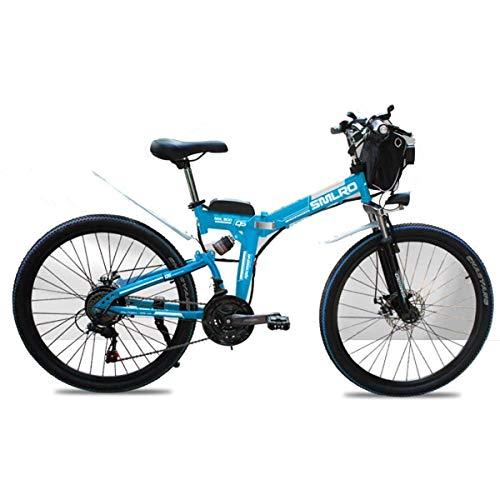 WJSW Bicicleta de montaña eléctrica Bicicletas para niños 48V Bicicleta eléctrica Plegable de 26 Pulgadas con neumáticos de Grasa de...