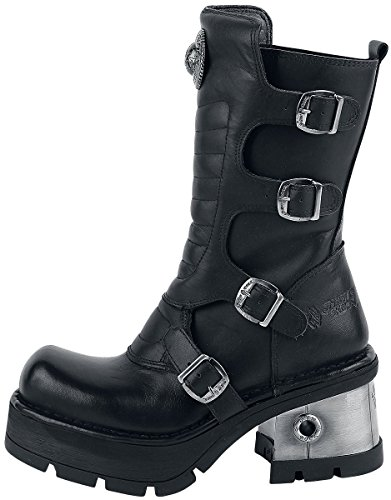 New Rock Womens M.373QX-S3 Leather Boots Noir