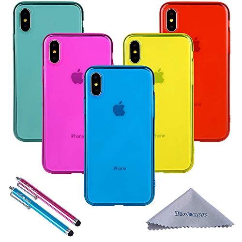 iPhone XS/x case, Wisdompro Bundle of 5confezione [extra Thin] [Slim] Jelly morbido TPU gel custodia cover per Apple iPhone/x/XS 10(blu, azzurro, rosa, giallo, rosso)