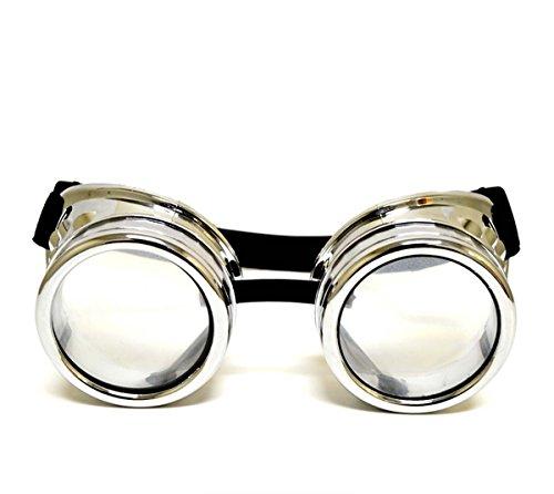 GloFX Padded Beugung Brille-Rave Steampunk EDM Schweißer Gothic Raver Kostüm Mode-Chrom Kupfer Weiß Schwarz