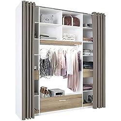 Miroytengo Armario vestidor con luz LED Dormitorio Moderno Color Blanco y Roble 3 cajones 16 Huecos 200x50
