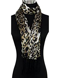 Ladies Womens Medium Beige and Brown Leopard Animal Print Print Design Satin Scarf or Wrap, with Tassels