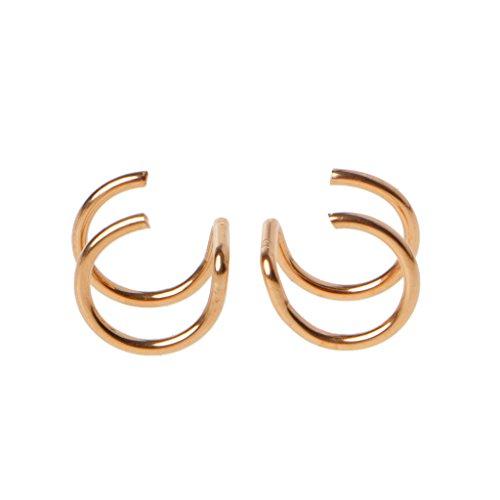 ruiruiNIE U-förmige Doppelring Ohrringe, Titan Ohr Manschette Nase Lip Clips auf Helix Knorpel Ring Kein Piercing Körperschmuck