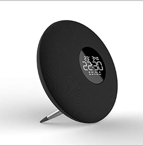 Uhr Lautsprecher Wecker Audio Wireless Bluetooth Lautsprecher Fashion Bass Speaker,Black