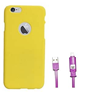 Chevron Hard Back Cover Case for Apple iPhone 6S Plus with 2 In 1 Data Cable (Micro USB & Lighting) (Yellow)