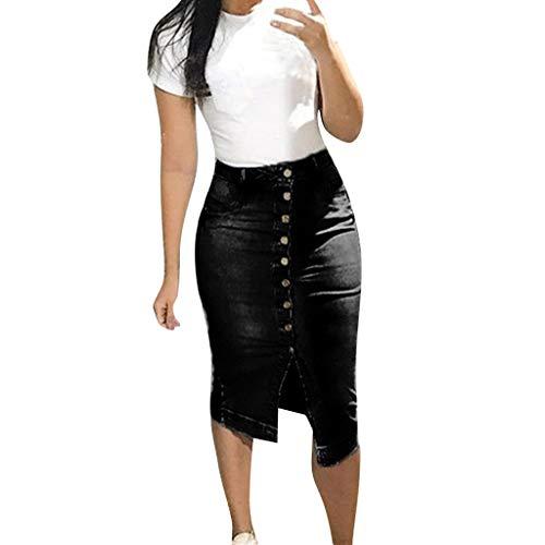 WOZOW Skirt Röcke Damen Denim Buttons Distressed Dünn Skinny High Waist Vintage Retro Short Casual Straight Mini Pencil Dresses Kleideres (XL,Schwarz) - Leder-low Rise Flare Jeans