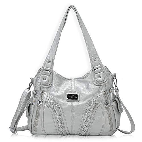 377876031e7bf angel kiss Hobo Tasche Schultertaschen Handtaschen Umhängetaschen  Henkeltaschen Fredsbruder Taschen Damen Weiches Leder (1555-Silber)