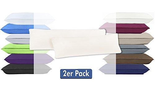 Doppelpack Serie Jersey Kissenbezüge mit Reißverschluss aus 100{3e76584426939c396cfb2e504ae842c30c17944168d4538d66e6122c35ce0ece} Baumwolle in 12 modernen Farben und 4 Größen(40 x 145 cm (Stillkissenbezug), Natur)