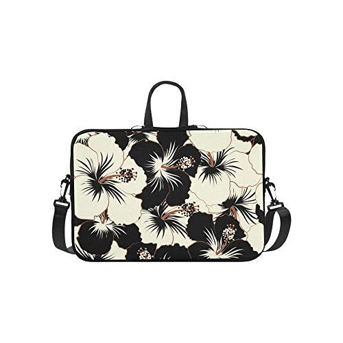 Hibiscus-aloha-shirt Herren (Aloha Typografie Schwarz Weiß Hibiscus Floral Aktentasche Laptoptasche Messenger Schulter Arbeitstasche Crossbody Handtasche Für Geschäftsreisen)
