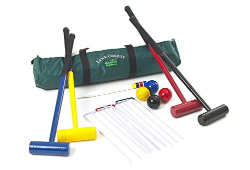 Garden Games 208 - Internationales Rasenspiel-Krocket-Set für 4 Spieler mit Mallets, 77 cm