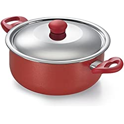 Prestige Omega Gold Induction Base Non-Stick Aluminum Sauce Pan with Lid, 240mm/4.5 Litres, Metallic Red